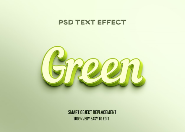 Efeito 3d de texto brilhante verde