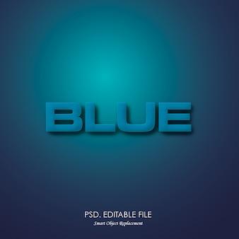 Efeito 3d de textura de texto azul