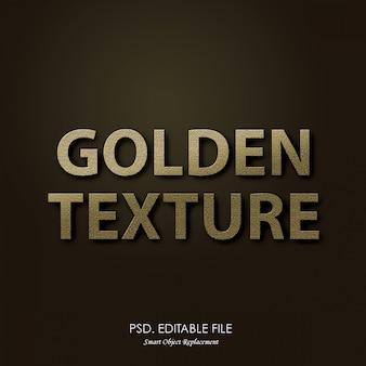 Efeito 3d de textura de texto dourado