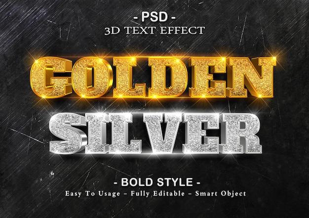 Efeito de brilho 3d dourado e silvet