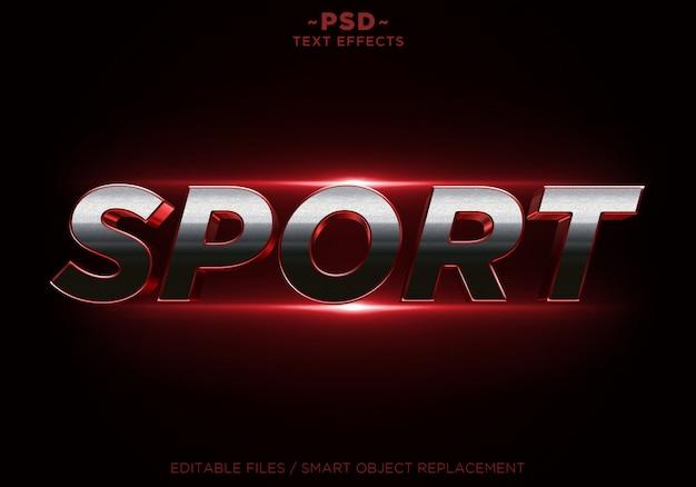 Efeito de brilho vermelho esporte 3d texto editável