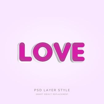 Efeito de estilo de amor 3d