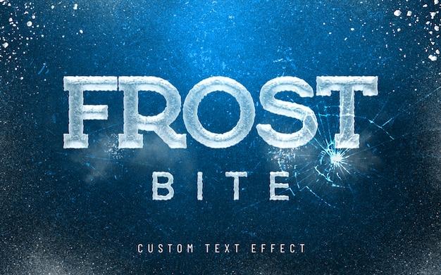 Efeito de estilo de fonte 3d maquete geada mordida gelo