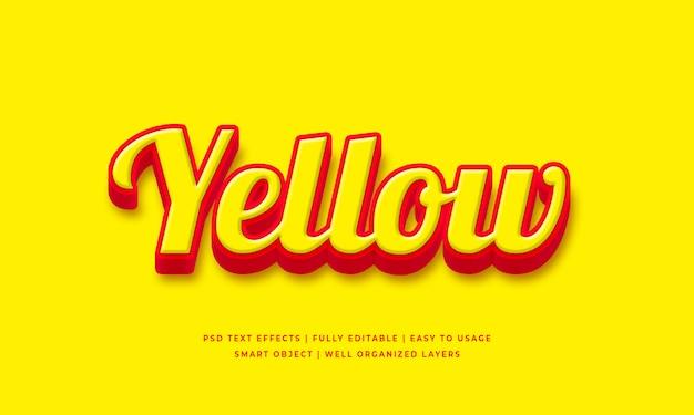 Efeito de estilo de texto 3d amarelo