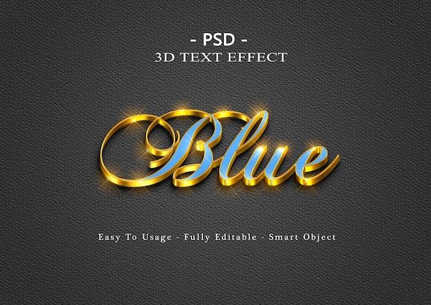 Efeito de estilo de texto 3d azul