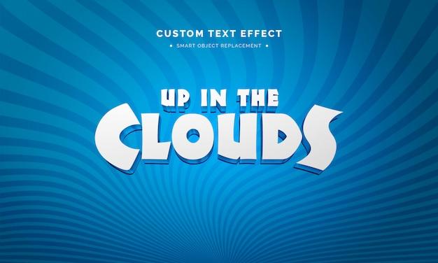 Efeito de estilo de texto 3d branco dos desenhos animados