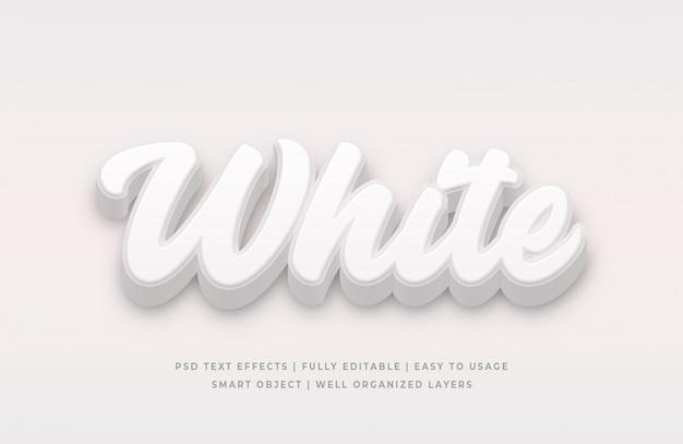 Efeito de estilo de texto 3d branco