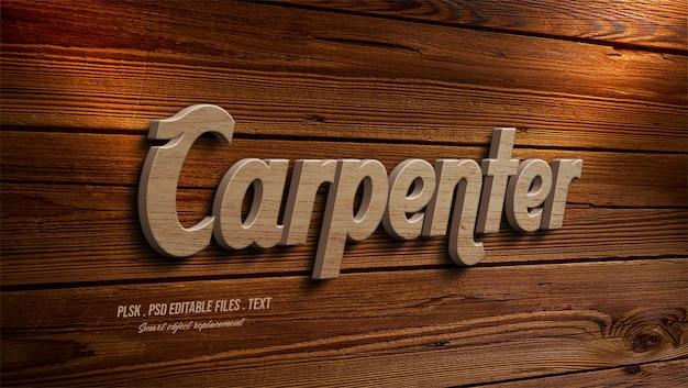 Efeito de estilo de texto 3d carpinteiro