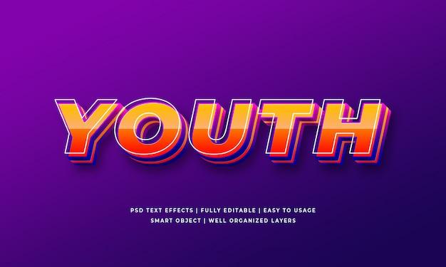 Efeito de estilo de texto 3d da juventude