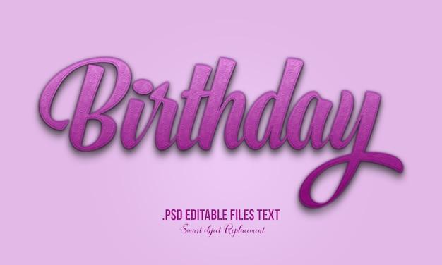 Efeito de estilo de texto 3d de aniversário, cartão de letras de mão desenhada, caligrafia escova moderna, efeito de texto de aniversário, definir o efeito de texto elegante rosa roxo abstrato aniversário