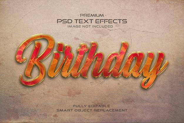 Efeito de estilo de texto 3d de aniversário