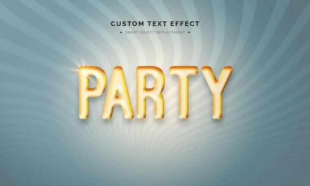 Efeito de estilo de texto 3d de balão de festa