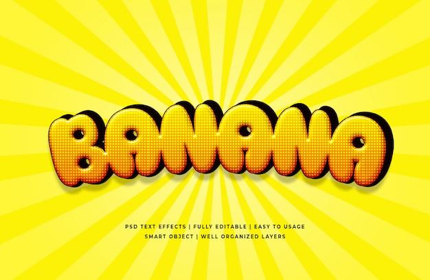 Efeito de estilo de texto 3d de banana