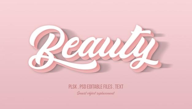 Efeito de estilo de texto 3d de beleza