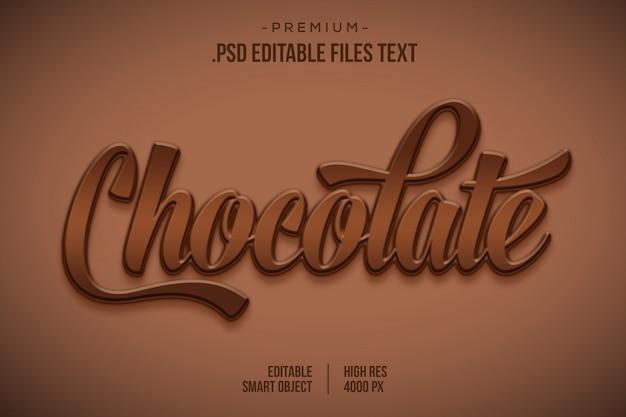 Efeito de estilo de texto 3d de chocolate