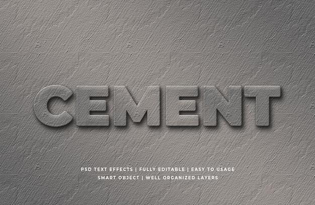 Efeito de estilo de texto 3d de cimento