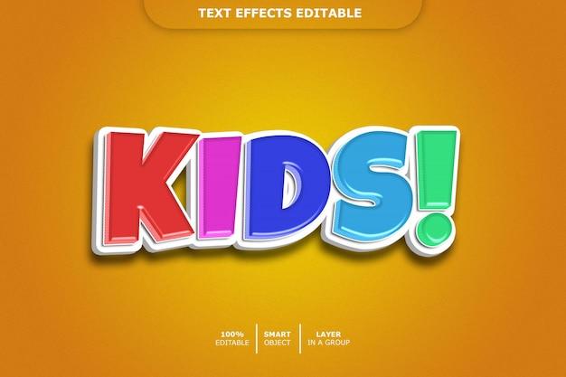 Efeito de estilo de texto 3d de crianças