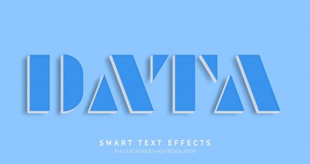 Efeito de estilo de texto 3d de dados