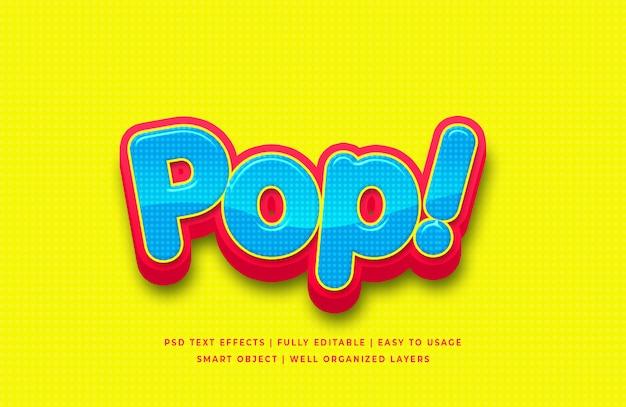 Efeito de estilo de texto 3d de desenho animado pop