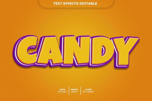 Efeito de estilo de texto 3d de doces