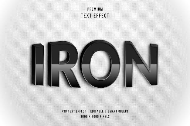 Efeito de estilo de texto 3d de ferro
