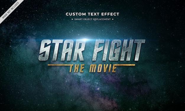 Efeito de estilo de texto 3d de filme espacial