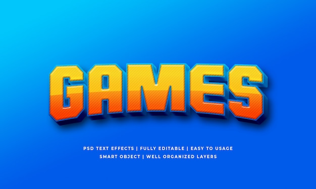 Efeito de estilo de texto 3d de jogos