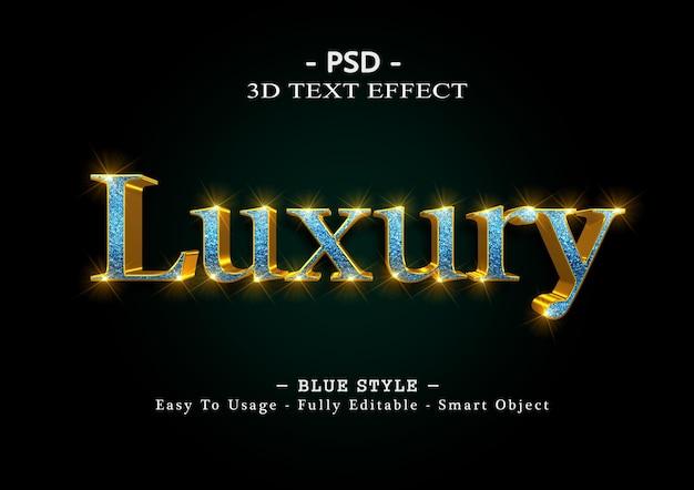 Efeito de estilo de texto 3d de luxo azul