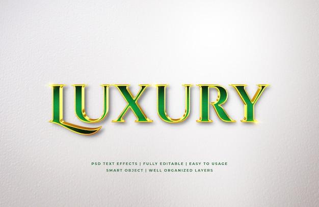 Efeito de estilo de texto 3d de luxo de ouro verde