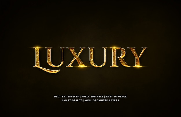 Efeito de estilo de texto 3d de luxo dourado