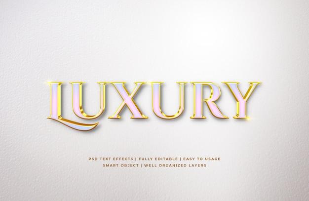 Efeito de estilo de texto 3d de luxo em ouro branco