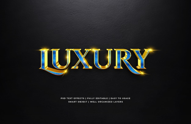 Efeito de estilo de texto 3d de luxo ouro azul