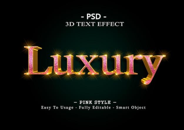 Efeito de estilo de texto 3d de luxo rosa