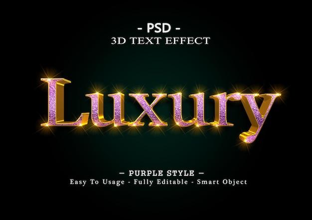 Efeito de estilo de texto 3d de luxo roxo