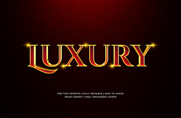 Efeito de estilo de texto 3d de luxo vermelho ouro