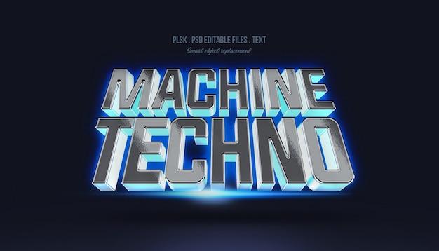 Efeito de estilo de texto 3d de máquina techno