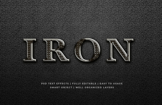 Efeito de estilo de texto 3d de metal de ferro