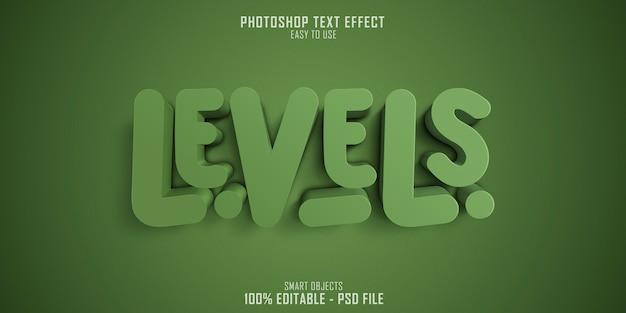 Efeito de estilo de texto 3d de níveis