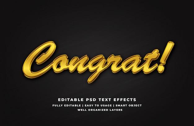 Efeito de estilo de texto 3d de parabéns ouro