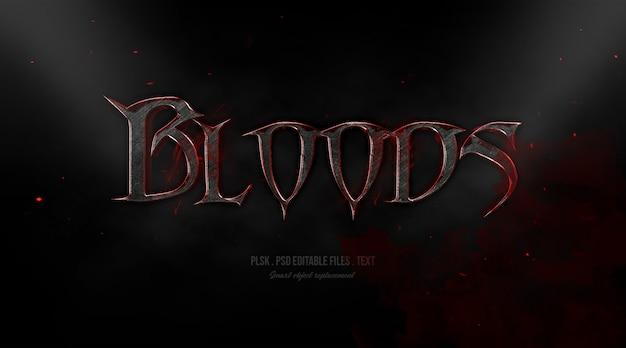 Efeito de estilo de texto 3d de sangue