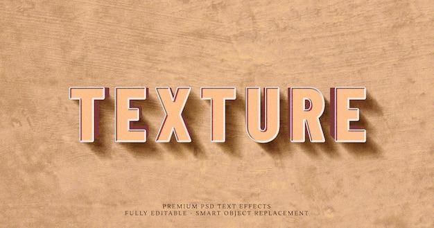 Efeito de estilo de texto 3d de textura marrom psd