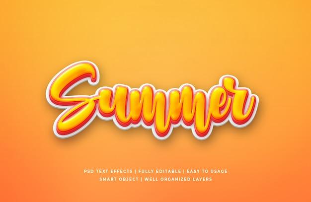 Efeito de estilo de texto 3d de verão
