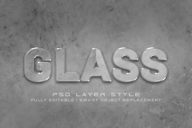 Efeito de estilo de texto 3d de vidro
