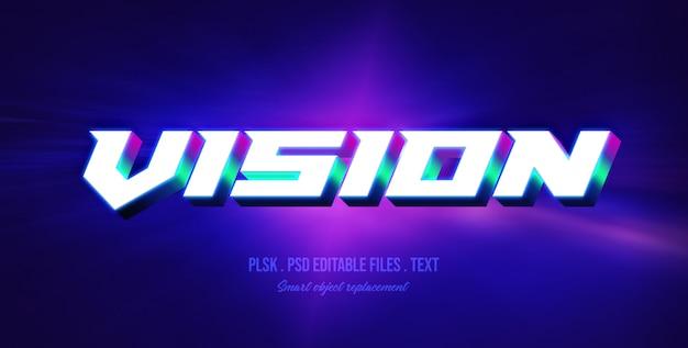 Efeito de estilo de texto 3d de visão