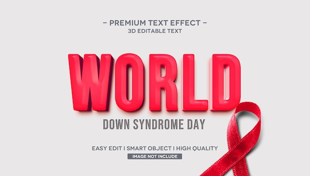 Efeito de estilo de texto 3d do dia mundial da síndrome de down Psd Premium