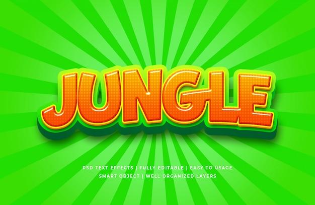 Efeito de estilo de texto 3d dos desenhos animados da selva