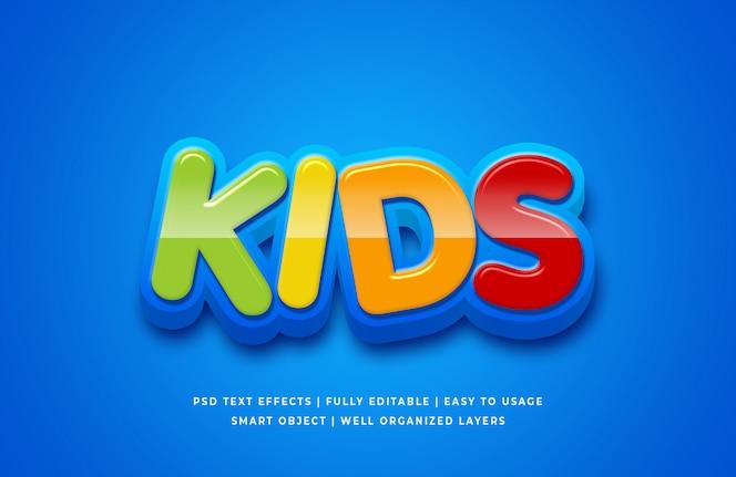 Efeito de estilo de texto 3d dos desenhos animados para crianças