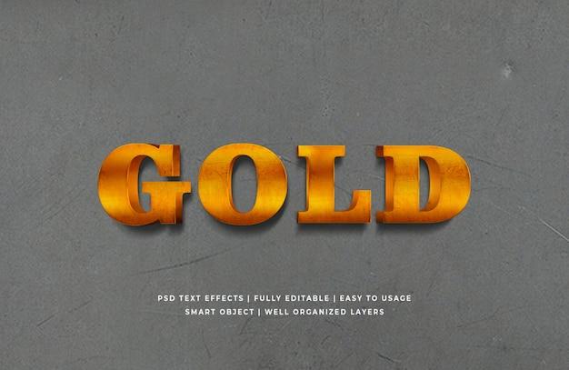 Efeito de estilo de texto 3d dourado psd premium