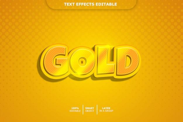 Efeito de estilo de texto 3d dourado