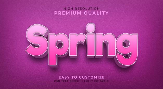 Efeito de estilo de texto 3d editável psd com a cor da flor da primavera